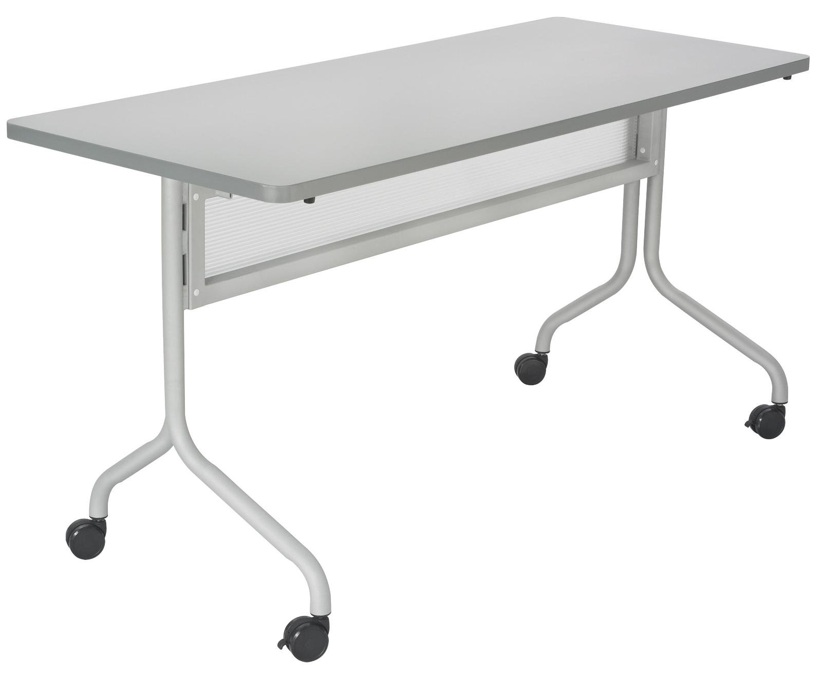 Safco Products 2070GRSL Impromptu Rectangle Mobile Training Table, 48''W x 24''D, Gray Top/Silver Base