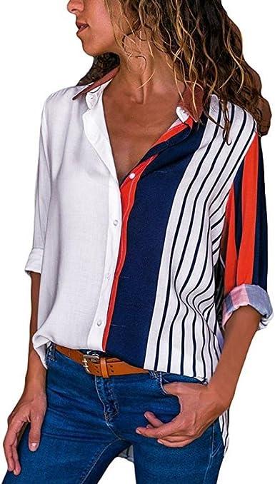SHOBDW Moda para Mujer Otoño Patchwork de Manga Larga Color botón a Rayas Casual Camisetas Tops Blusa