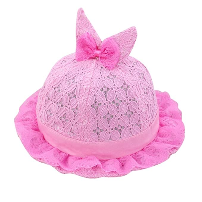 7049f823a45 Xshuai® Baby Hat for 0-6 Months Kids Fashion Toddler Girls Summer Cute  Cartoon Hat Infant Princess Cap Top with Bow (Hot Pink)  Amazon.co.uk   Clothing