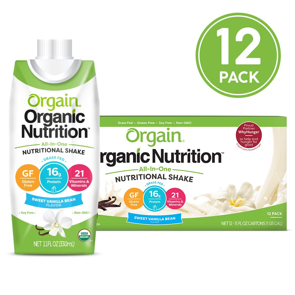 Orgain Organic Nutritional Shake, Vanilla Bean - Meal Replacement, 16g Protein, 21 Vitamins & Minerals, Gluten Free, Soy Free, Kosher, Non-GMO, 11 Ounce, 12 Count (Packaging May Vary) by Orgain