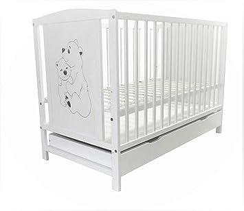 Babybett Kinderbett Schublade 120x60 Weiß Grau mit Bärchen Motiv Matratze