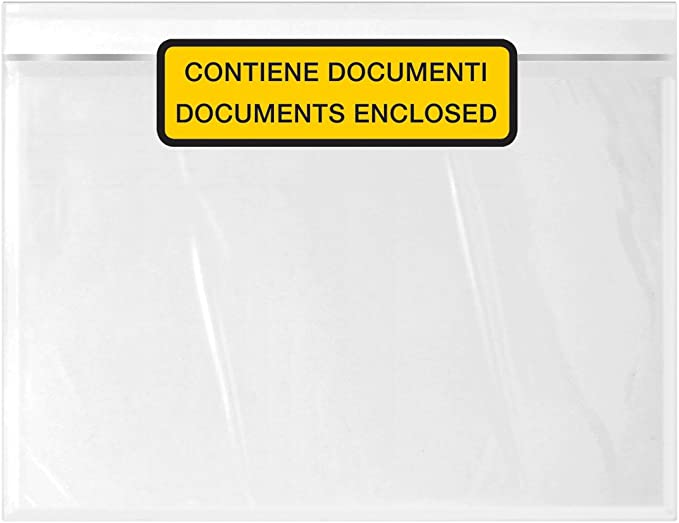 Buste trasparenti per documenti in formato A5 confezione da 500 chiusura adesiva 24 x 18 cm C5