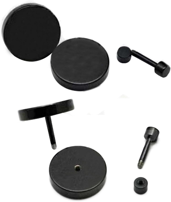 1 Pair of Mens Barbell Stainless Steel Ear Studs Earrings 3mm