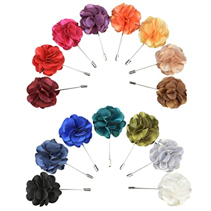 Soleebee YM028 Broches de Solapa, Mixto Aleatorio Flores de Solapa Pin Boutonniere para Hombre Traje (Paquete DE 12)