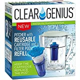 Clear Genius Water Pitcher Filtration System FWP-1, Includes Reusable Filter Cartridge and Filter Pod Refill, Clear, 6-Cup Capacity