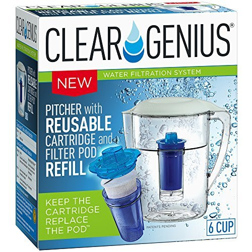 Clear Genius Water Pitcher Filtration System FWP-1, Includes Reusable Filter Cartridge and Filter Pod Refill, Clear, 6-Cup Capacity by Clear Genius
