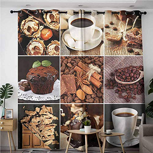 XXANS Home Curtains,Kitchen,Coffees Cupcake Chocolate,Energy Efficient, Room Darkening,W84x84L