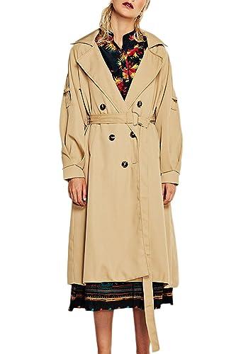 Las Mujeres Cintura Estilo Británico De Solapa Doble Botonadura Trenchcoat Outwear