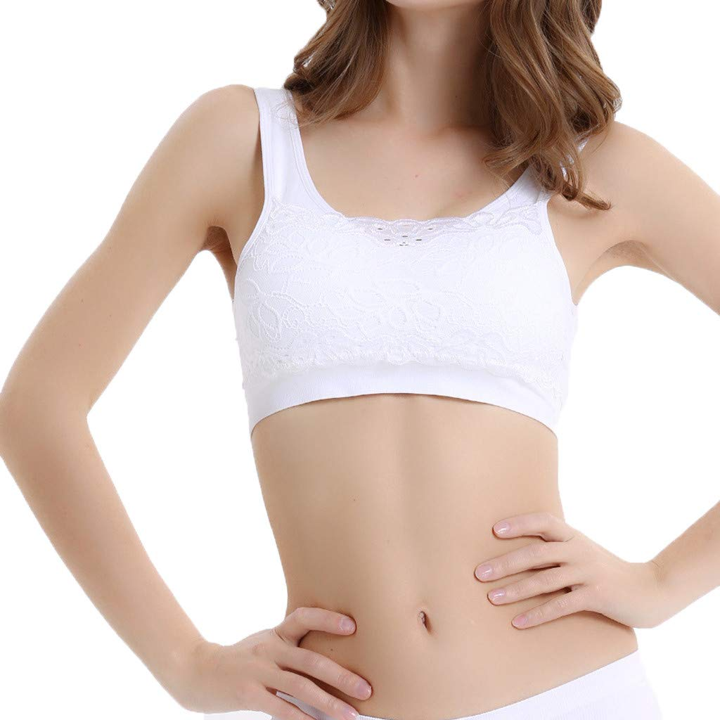 Summer Tops,Ladies Sports Non-Ring Closed Adjustment Bra Underwear Lace Bra Top by Youngh White