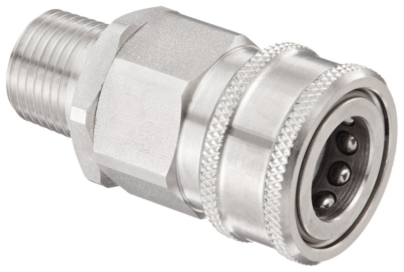 Snap-Tite SVHC8-8M Stainless Steel 316 H-Shape Quick-Disconnect Hose Coupling, Sleeve-Lock Socket, 1/2'' NPTF Male x 1/2'' Coupling Size