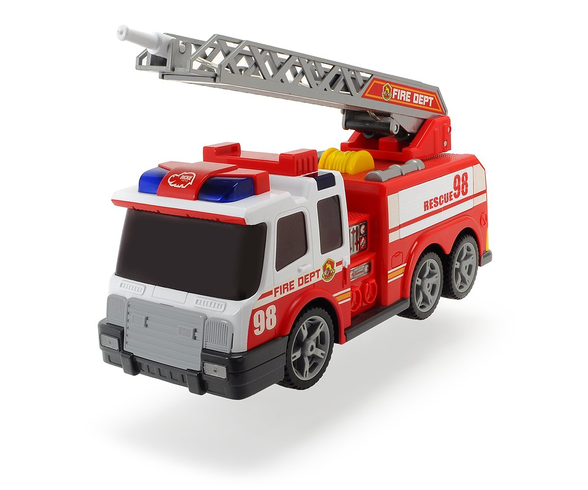 Dickie 203308358 Fire Engine Toy with Hose, Telescopic Ladder, Manual Water Pump, Lights & Sound Effects   Age 3+, red