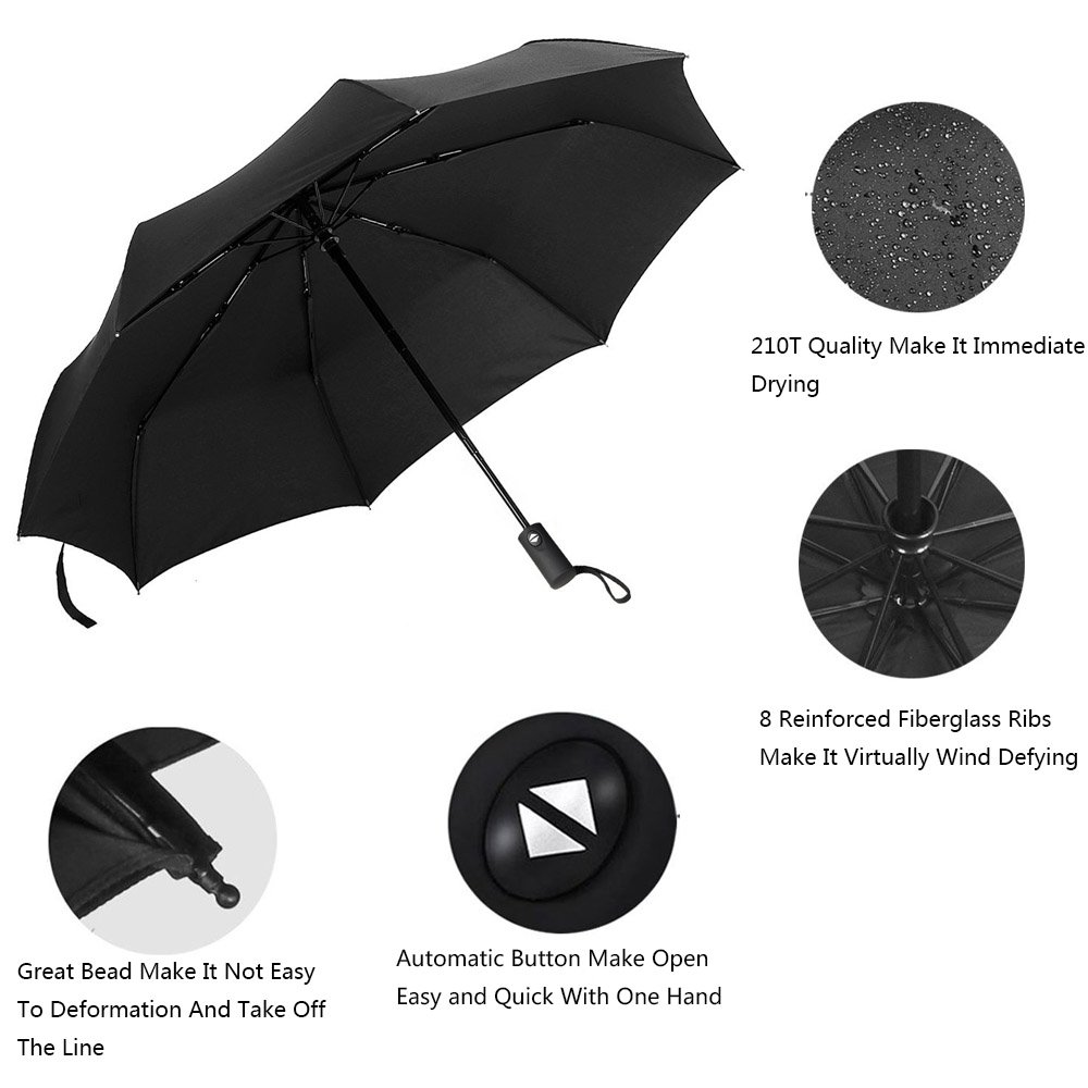 Umbrella,Travel Umbrella Hippih 8 Ribs 210T Folding Waterproof & Windproof Umbrellas Women and Men Auto Open Close Umbrella Black