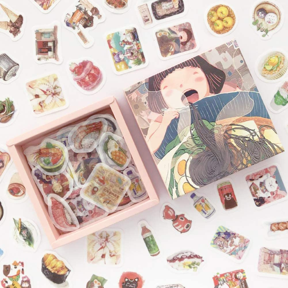 Doraking 200PCS Middle Size Japanese Food Noodles Sushi Theme Scrapbook Washi Stickers for Scrapbooking Diary Decoration (Japanese Food)