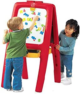Step2 Easel for Two | Kids Double-Sided Art Easel with Magnetic Letters & Numbers | 94-Pc Accessory Set Included, Red, 42-1/2inx26-1/2inx22-3/4 I (885200)