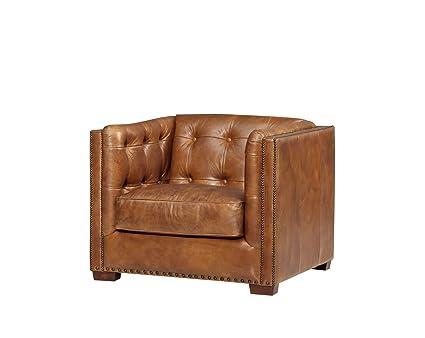 Top Grain Vintage Leather Tuxedo Sofa Chair, Light Brown