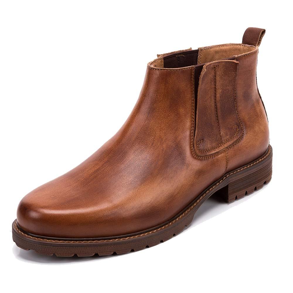 Alaño hombres Tops Martin botas botas de Desierto botas de Tobillo con Punta de Cuero Genuino de la Vendimia para el Trabaño Vestido Formal botas Chelsea Calzaño marrón