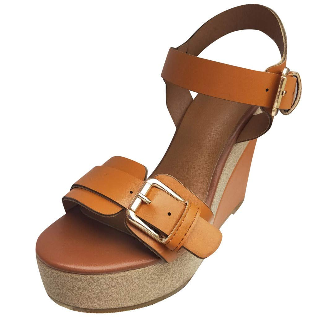 OutTop(TM) Women Wedge Sandals Ladies Summer Casual High Heel Platform Ankle Strap Peep Toe Comfy Shoes (US:8.5, Brown)