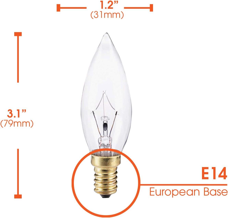 Torpedo Tip E14 European Base 6 Pack 170 Lumens 25W B9 Incandescent Clear Chandelier Light Bulb 130V, Dimmable