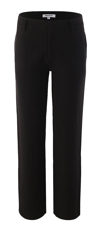 Bienzoe Boy's School Uniforms Durable Adjustable Waist Flat Front Pants