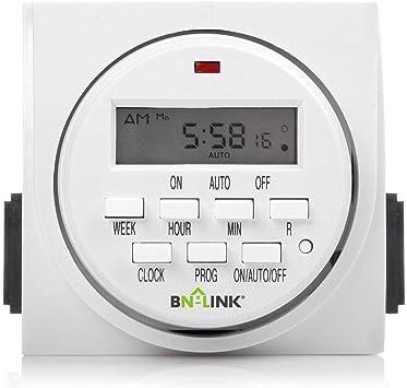 BN-LINK 7 Day Heavy Duty Digital Programmable Timer, FD60 U6, 115V, 60Hz, Dual Outlet, Indoor, for Lamp Light Fan Security UL Listed