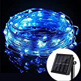 Wannabuy Solar String Lights, 56ft 150 LEDs Outdoor Waterproof LED Solar Starry Lights String,Copper Wire Lights Ambiance Lighting for Gardens, Patio, Backyard, Christmas Party (blue)