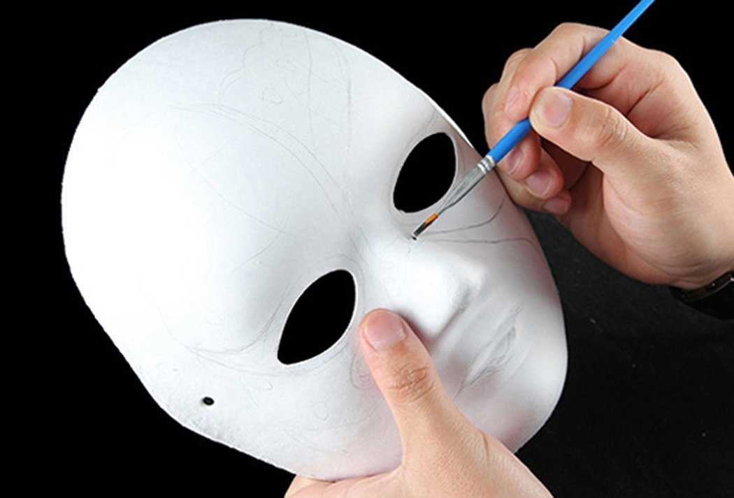 Halloween DIY Mask,Outgeek 6Pcs Plain Paper DIY Cosplay Mask Half Face Dance Mask with Painting Brushes for Halloween Party