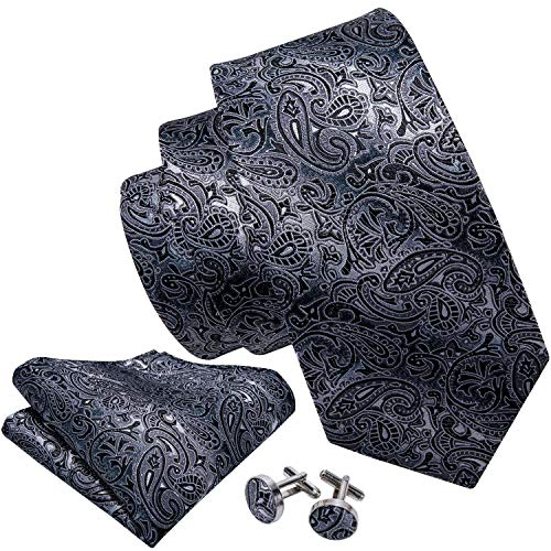 Barry.Wang Black and Grey Tie Set Silk Neckties -