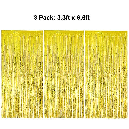 Foil Fringe Curtains Metallic Tinsel Gold Fringe Curtain Photo Booth Backdrop Curtains Decoration for Christmas New Years Eve Birthday Wedding Bachelorette Party Tassel Decor 3 Pack 3.3ft x 6.6ft]()
