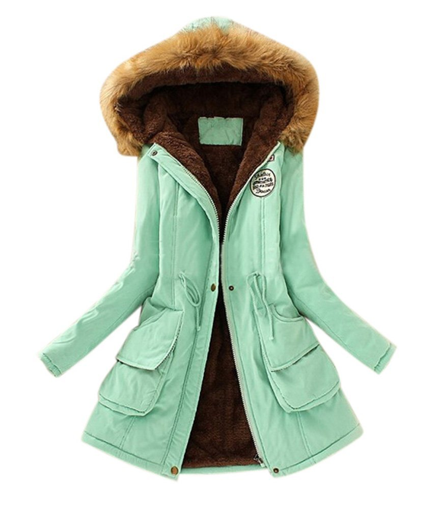 Aro Lora Women's Winter Warm Faux Fur Hooded Cotton-Padded Coat Parka Long Jacket US 12 Pea Green by Aro Lora (Image #1)