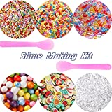 SECOWEL 6 Pack Slime Making Kit Supplies Including Fishbowl Beads, Foam Balls, Fruit Slices, Fake Candy Sprinkles and Spoons for Slime Making Art DIY Craft Party Decoration or Wedding