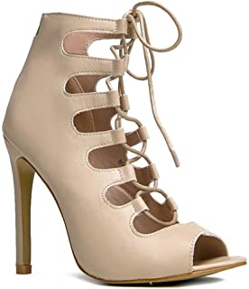 2b3955b156ef MarBel Lace up High Heel - Strappy Party Pump - Strap Formal Dress Wedding  Evening Shoes