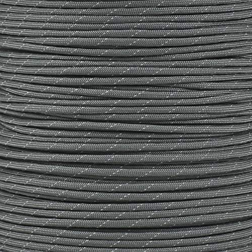 Reflective Type III 550 Paracord - Charcoal Gray - 10 Ft Hank - 7 Strand Core - 100% Nylon, Parachute Cord, Commercial Paracord, Survival Cord by PARACORD PLANET (Image #1)