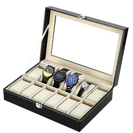 Expositor de relojes con cojines blandos de franela en caja de almacenamiento, negro, 12