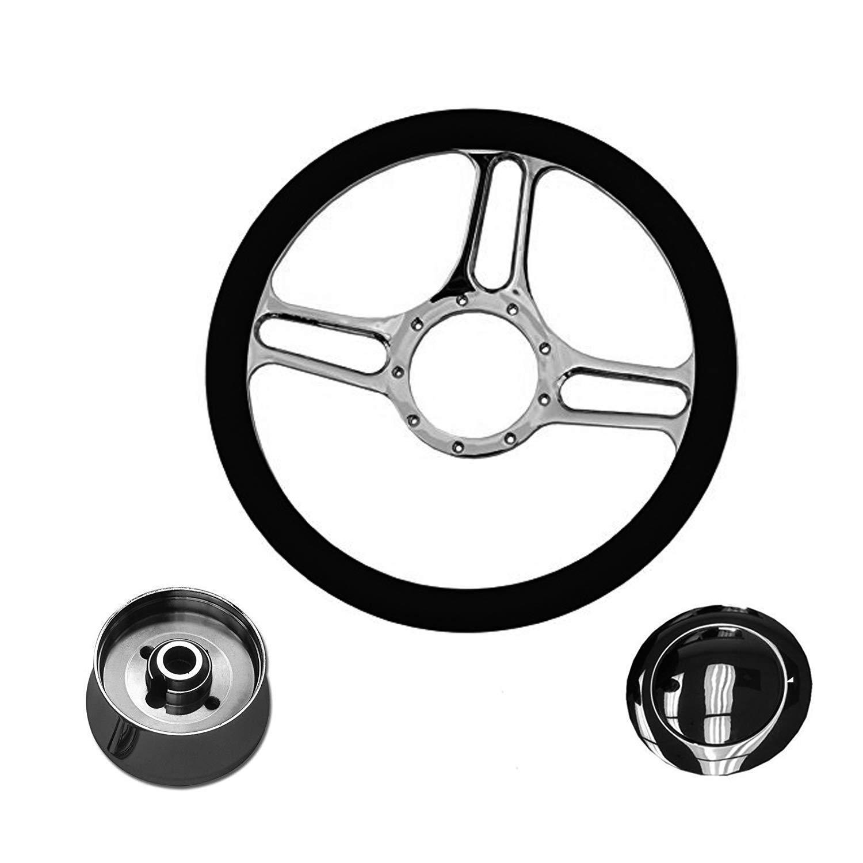 Vintage Black Dodge DART Steering Wheel Black Leather Keyring Fob