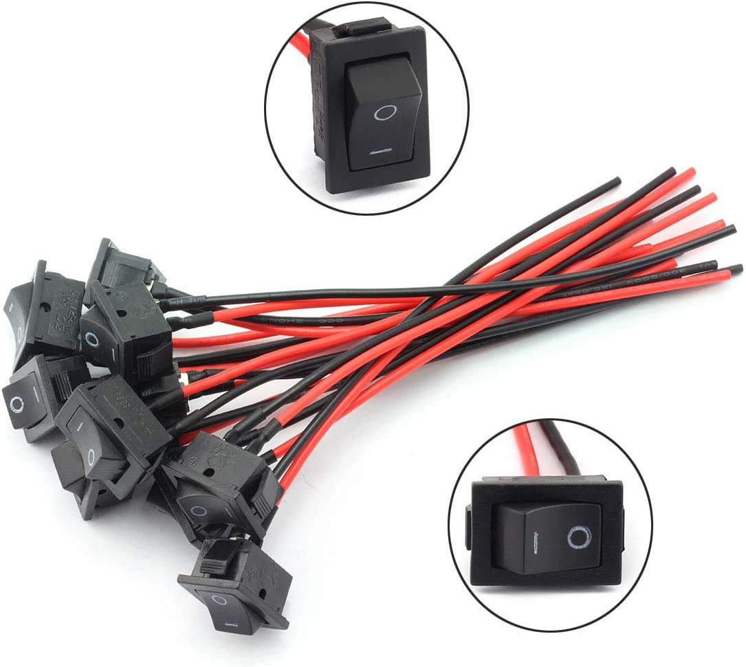 Amazon Com Dzs Elec 10pcs Mini Rocker Switch With 2 Lead Wire On Off Position Black Push Button Mini Boat Switch Sports Outdoors