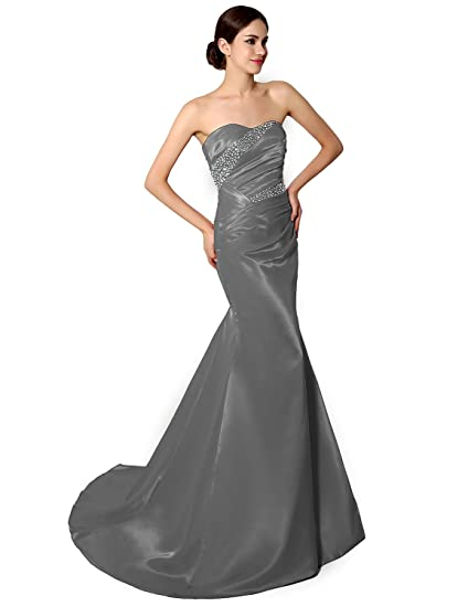 Sarahbridal Womens Long Mermaid Evening Prom Dresses Mother Bride Formal Gowns with Sequins SSD010 Grey Size