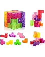 D-FantiX Building Blocks 3D Magnet Tile 7Pcs Set Puzzle Speed Cube 3x3x3 with 54pcs Guide Cards Intelligence Toys for Kids