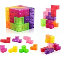 D-FantiX Building Blocks 3D Magnet Tile 7Pcs Set Puzzle Speed Cube 3x3x3 with 54pcs Guide Cards Intelligence Toys for Kids