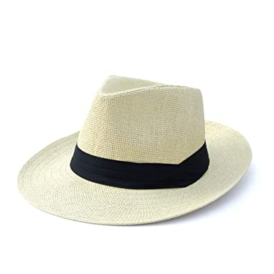 7dd917b51ce69 Classic Straw Hat UV Protection Summer Sun Cap Men Handmade Raffia Straw  Trilby Cap Holiday Travel