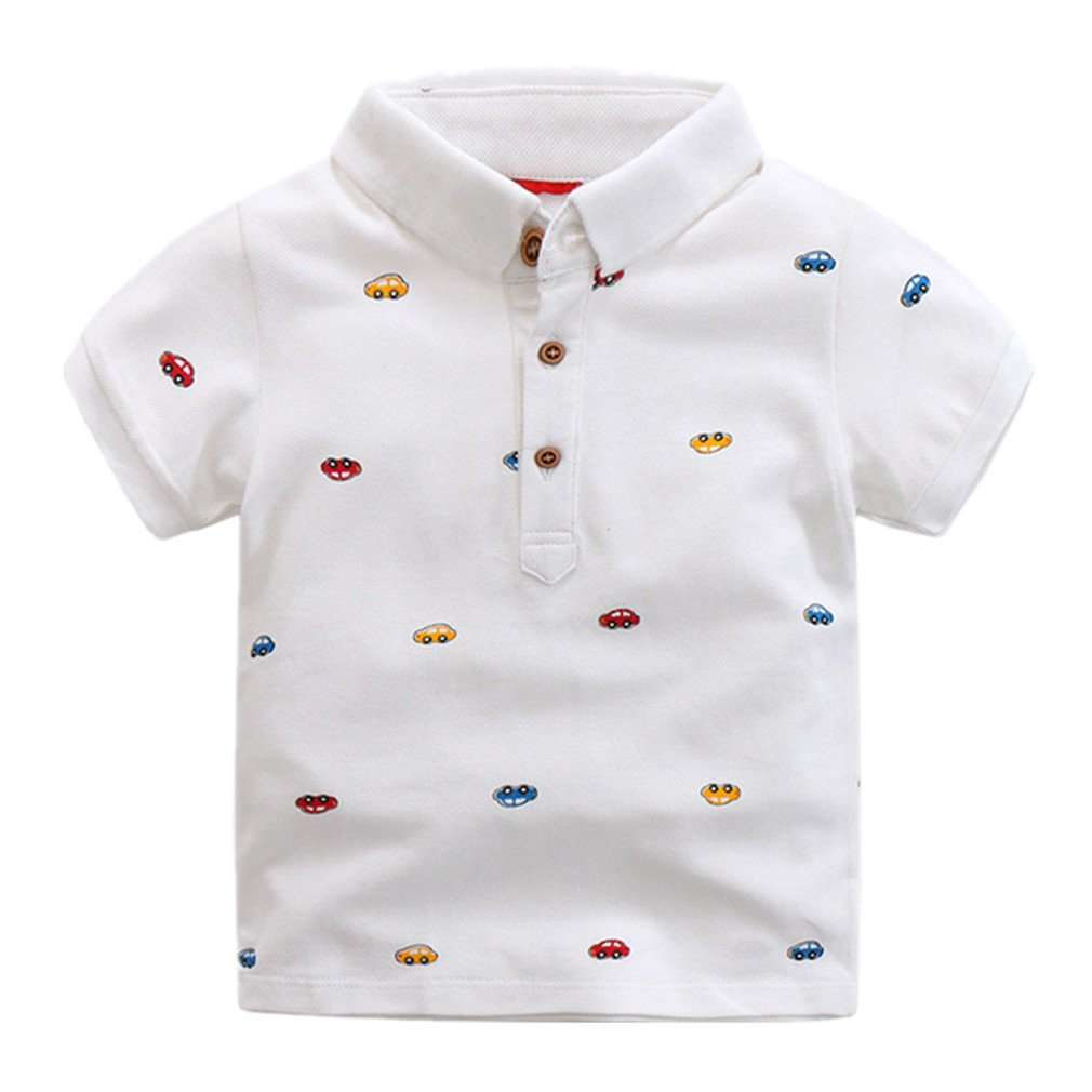Motteecity Little Boys' Car Short Sleeve Polo T-Shirt