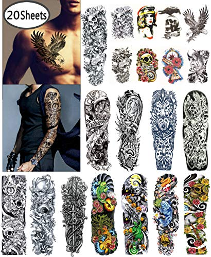 DaLin Extra Large Temporary Tattoos Full Arm and Half Arm Tattoo Sleeves for Men Women 20 Sheets]()