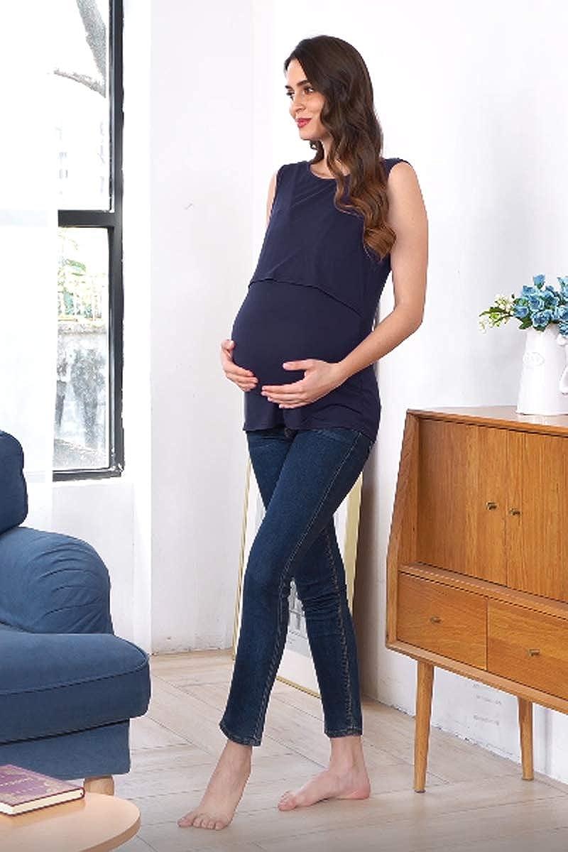 Ekouaer Womens Nursing Tank Top Maternity Breastfeeding Clothes Solid Double Layer Sleeveless Pregnancy Tee Shirt