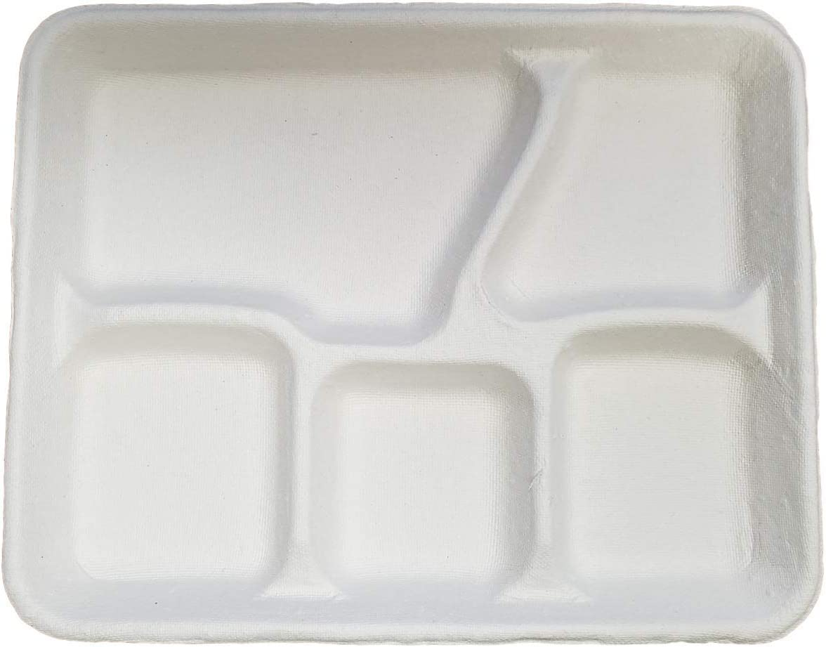"""White Rectangular 5 Compartment Molded Fiber Pulp Cafeteria Style Food School Lunch Tray Size of 10 3/8"""" x 8 1/4"""" by MT Products (20 Pieces)"""