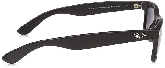 Ray-Ban Unisex New Wayfarer Polarized Sunglasses, Black/Polarized Blue/Grey Gradient, Blue Gradient Grey, 55mm