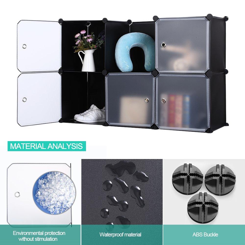 Toys 12 Cubes Robolife DIY Closet Organizer Cabinet Shelving Versatile Disassembly Transparent Door Wardrobe for Clothes Shoes