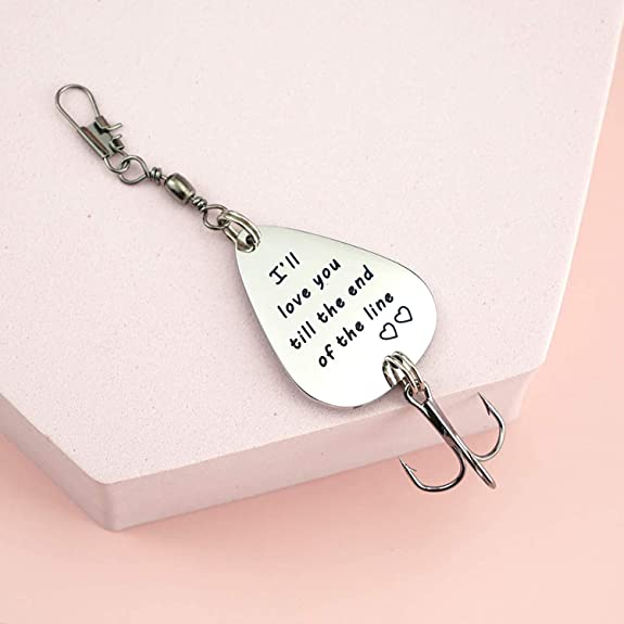 Boyfriend Gift Love You Till The End Of The Line Love You More, Christmas Gift For Him,Fishing Keychain Natashaaloha Personalized Lure