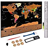 """Amazon Price History for:Scratch off World Map Poster - Personalized Travel Tracker Map with US States - Country Flag - Traveler Favorite, Funny Scratch, Personalized Decor - Deluxe Black 32.48"""" x 23.42"""""""