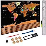 Scratch off World Map Poster - Personalized Travel Tracker Map with US States - Country Flag - Traveler Favorite, Funny Scratch, Personalized Decor - Deluxe Black 32.48'' x 23.42''