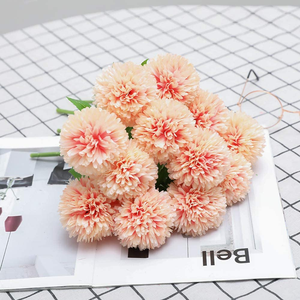 Floweroyal 12pcs Artificial Chrysanthemum Ball Flowers Silk Hydrangea Bridal Wedding Bouquet for Home Garden Party Office Coffee House Decoration (Champagne).