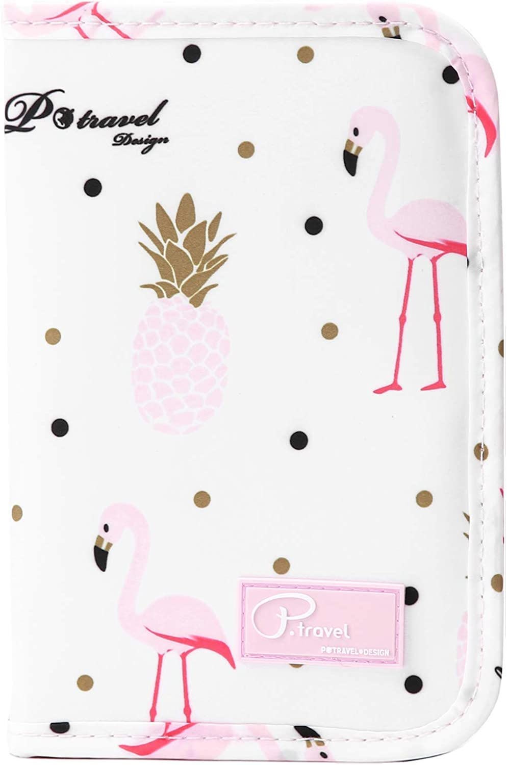 Pink Tropical Leopard Print Leather Passport Holder Cover Case Blocking Travel Wallet